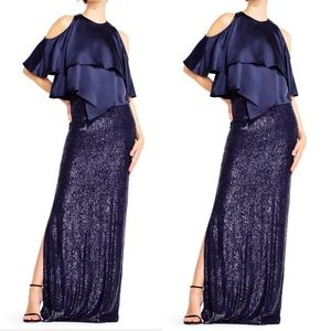 Aidan Mattox sequin Gown with satin popover